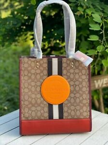 NWT Coach 1917 Dempsey Tote In Signature Jacquard With Stripe And Coach Patch