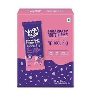 Yogabar Breakfast Protein Apricot Fig Bars - 300gm, 50g x 6 Bars