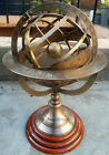 Antique Brass Engraved Armilary 12'' Tabletop Nautical Sphere World Armillary