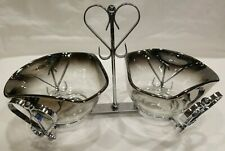 DOROTHY THORPE~MID CENTURY~2 SILVER FADE BOWLS WITH METAL HEART CADDY~GUC