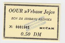 0,5 DM Germany Mark OOUR VRBAS JAJCE Bosnia ex Yugoslavia,Local note bons coupon