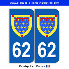 Stickers pour plaque département 62 Pas-de-Calais (jeu de 2 stickers) blason