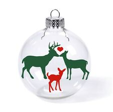 Deer family in love, wedding first christmas tree ornament name heart baby kids