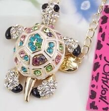 Betsey Johnson Necklace Tortoise Crystal Silver Sea Turtle Tortoise GIFT BOX