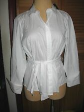 LANE BRYANT 18 White Fitted Shirt with Tie Waist Fits 186W 1X 2X