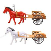 Electric Small Horse Drawn Carriages Toy Kid Horse Walking Model Toys Gift L&6