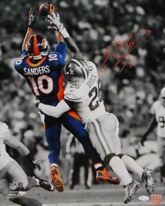 Emmanuel Sanders Autographed Broncos 16x20 B&W Color Catch Photo- JSA W Auth