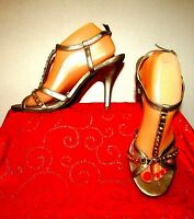 UNLISTED-KENNETH COLE GOLD RHINESTONE T STRAP DRESS HEELS SZ 10/ANKLE STRAP MINT