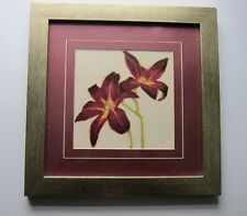 Floral Wall Picture ~ Brushed gold Frame~ by C.Lerner ~ Made in Canada Vintage