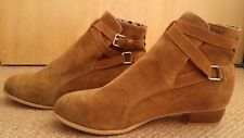 Ladies women ankle high heel brown autumn winter boots size 7
