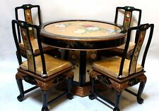 Oriental dining room set furniture dinettes gold leaves lacquer