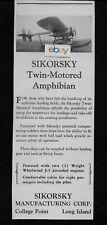 Sikorsky Aircraft S-38 Amphibian Twin Motored Amphibian 1928 Ad