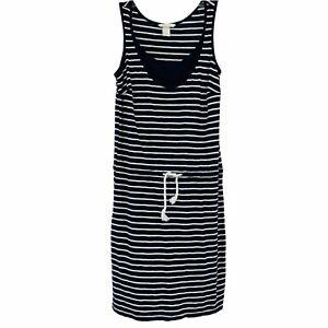 H&M Mama Women's S Black White Stripe Tank Dress Drawstring Jersey Knit Stretch