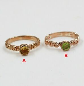 Solid 925 Sterling Silver Jewelry Peridot Citrine Gemstone Engagement Gift Ring