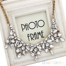Girl Clear Crystal Rhinestone Drop Flower Statement Choker Bib Necklace Pendant