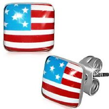 Stainless Steel Square USA American Flag 7MM Stud Earring     b26