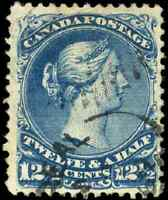 Canada #28 used F-VF 1868 Queen Victoria 12 1/2c blue Large Queen CDS CV$110.00