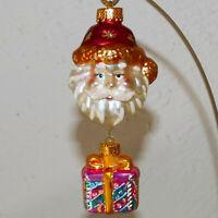 "Christmas Ornament Glass POLONAISE KURT ADLER Santa Face Present DANGLE 4.5"""