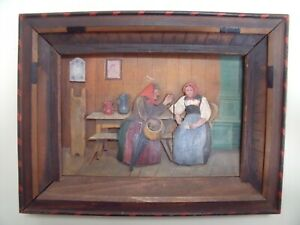 Oil Painting on Wood Panel 3D Relief Eastern European Folk Art Nutmeg Grinding