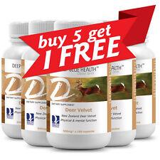 Deer Velvet (600 caps) 500mg - NEW ZEALAND Deer - Stamina + Buy 5 Get 1 FREE!