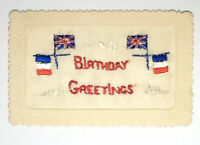 WW1 SILK EMBROIDERED POSTCARD - BIRTHDAY GREETINGS