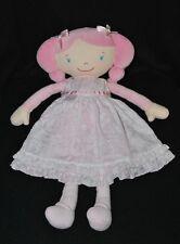 Peluche doudou poupée rose COROLLE robe blanche brodée 40 cm TTBE