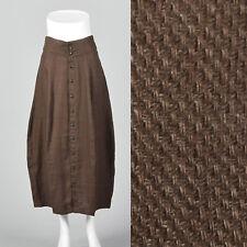 M 1990s Brown Linen Skirt Button Front Lightweight Casual Summer Separates 90s