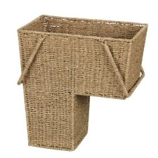 Stair Step Basket Wicker With Handle Household Essentials Containers Baskets