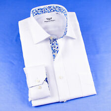Mens White Wide Herringbone Twill Formal Business Shirts With Blue Paisley