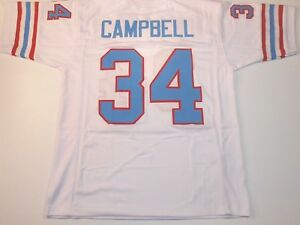 UNSIGNED CUSTOM Sewn Stitched Earl Campbell White Jersey - M, L, XL, 2XL, 3XL