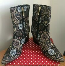 Next Black Paisley Tapestry Block Heeled Ankle Boots UK Size 6 NEW (E/04)KW