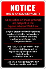 """*Aluminum* Notice This Is An Equine Facility 8""""x12"""" Metal Novelty Sign  NS 407"""