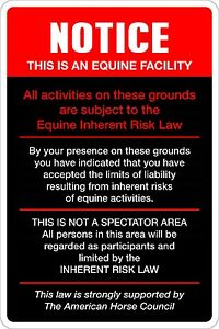 """Metal Sign Notice This Is An Equine Facility 8"""" x 12"""" Aluminum NS 407"""