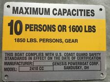 United Marine Corp Boat Capacity Plate~Tag~10 Person or 1600 Lbs~Genesis 2410 CC