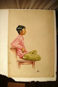 """Vintage Painting Sketch Color Pencil Drawing Hand Drawn Man Sitting On Table """""""