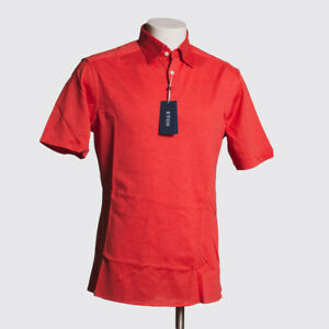 ETON Polo Shirt Size L Solid Coral Red Cotton Pique Popover with Short Sleeves