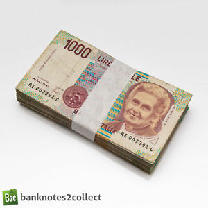 ITALY: 100 x 1,000 Italian Lira Banknotes. Full Bundle.