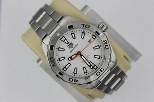 Tag Heuer WBD1111.BA0928 White Aquaracer Watch Mens SS Sport Silver Mint 300M