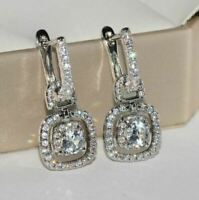 2Ct Round Attractive Cut Moissanite Drop & Dangle Earrings 14K White Gold Finish