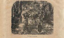 Stampa antica BRIANZA CONTADINI con DARA carro con ruote 1872 Old Antique print