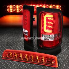 CHROME RED LENS 3D LED TAIL LIGHT+3RD BRAKE LAMP FOR 94-02 DODGE RAM 1500-3500