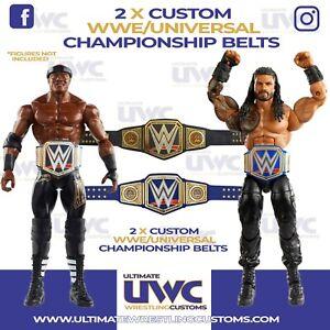 Custom WWE/Universal Championship Belts x 2 for Mattel/Jakks/Hasbro Figures