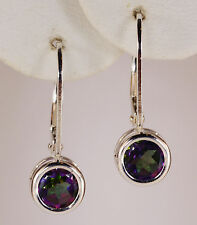 GENUINE MINED LEVERBACK GREEN MYSTIC TOPAZ EARRINGS~STERLING SILVER~USA~6MM