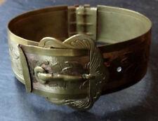 antique Victorian bangle bracelet gold plate ornate flower belt buckle clasp R10