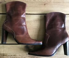 BROWN FAUX LEATHER WESTERN COWBOY MID CALF HEELS BOOTS SIZE 6 39 DOROTHY PERKINS