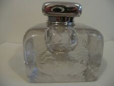 TIFFANY & Co. SILVER and ENGRAVED GLASS INKWELL- a Huge Art Nouveau example!