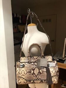 """NWT! RAFE NEW YORK """"ROOPAL"""" PYTHON PRINT EMBOSSED LEATHER SATCHEL TOTE BAG"""