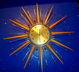 Mid Century Modern Westclox Atomic Starburst Battery Operated Wall Clock