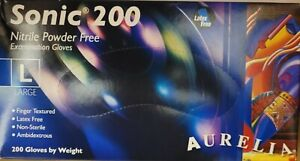 SONIC AURELIA 200 Blue Powder Free LARGE Strong High Quality Nitrile Gloves