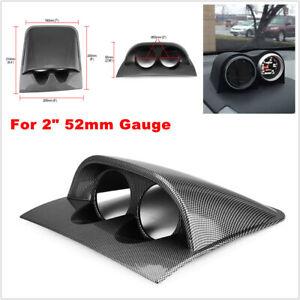 """Carbon Fiber Car 2"""" 52mm Meter Universal Double Hole Dash Board Gauge Pod Holder"""